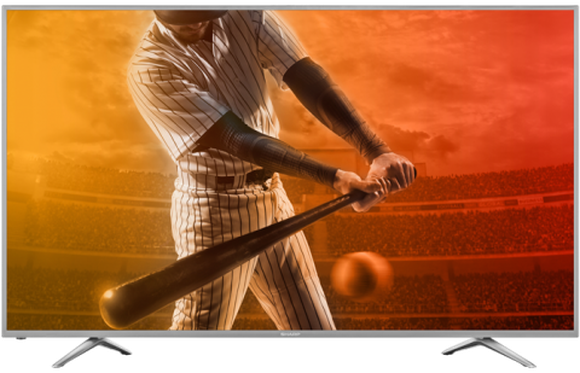 A Sharp 4K UHD TV displaying a baseball player.