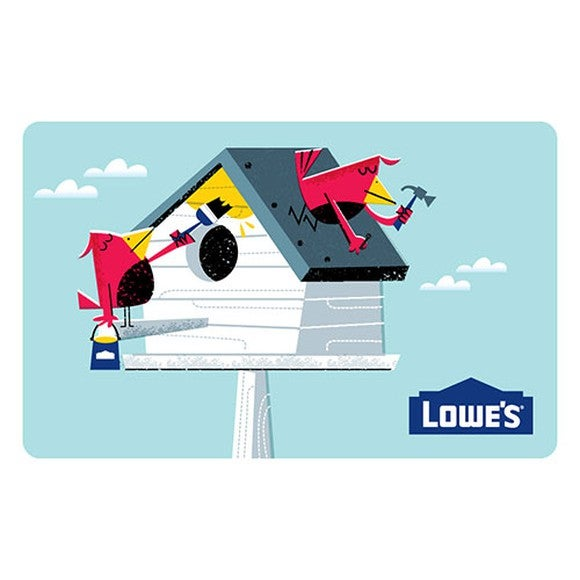 A cartoon of birds feeding at a birdhouse with a Lowe's logo in the bottom-right corner
