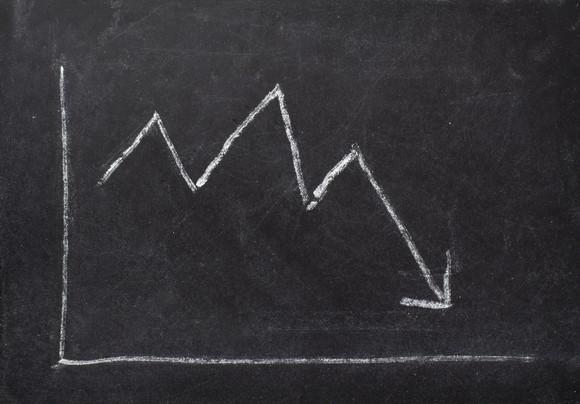 Chalkboard sketch of stock price moving downward.