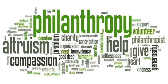 Words associated with philanthropy.