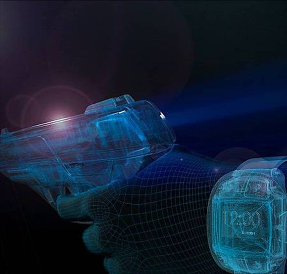A digital representation of the Armatix smart gun technology that unlocks the weapon with a wrist watch