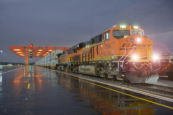 BNSF locomotive on a railway.