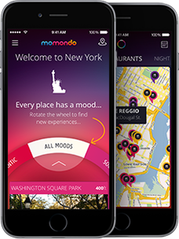 A picture of two smart phones displaying Momondo's online travel app.