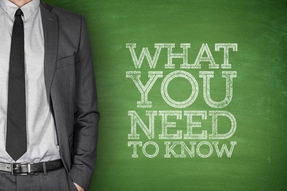 """what you need to know"" written on chalkboard, with torso shown of man in suit next to it"