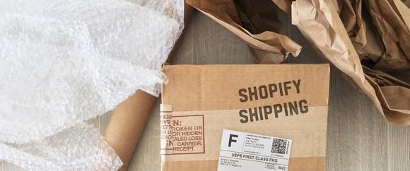 Shopify shipping box.