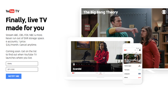 A screenshot of the signup page for YouTube TV.