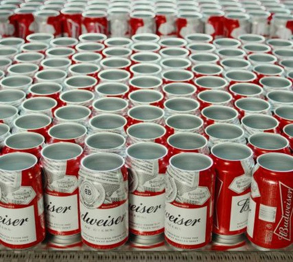 Empty cans of Budweiser ready to be filled with beer
