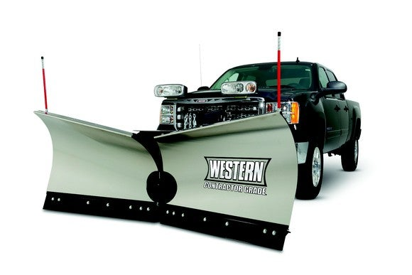 Truck with plow attachment.
