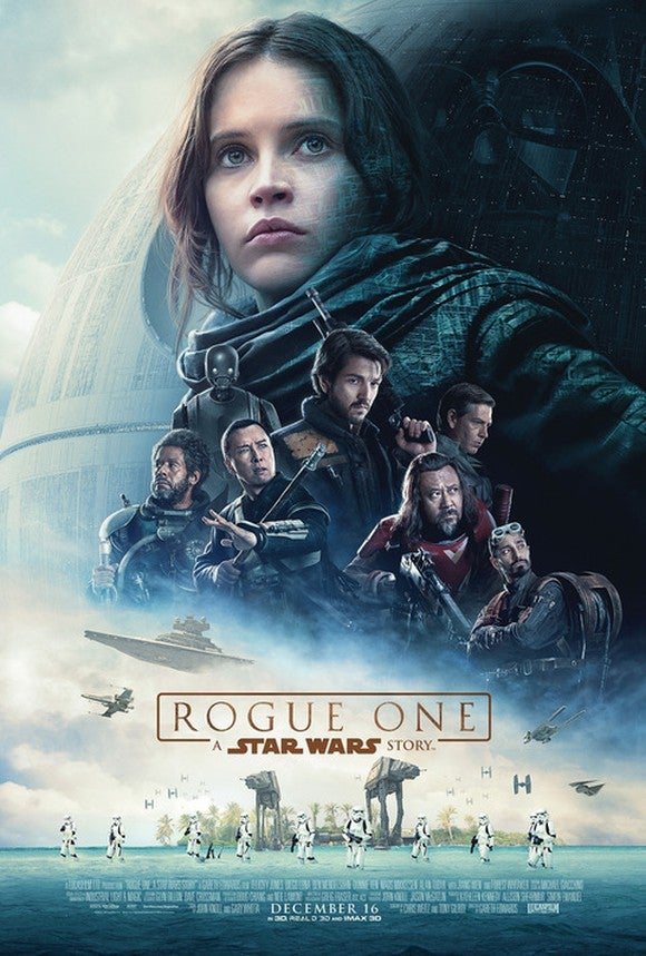 A movie poster for Star Wars: Rogue One.