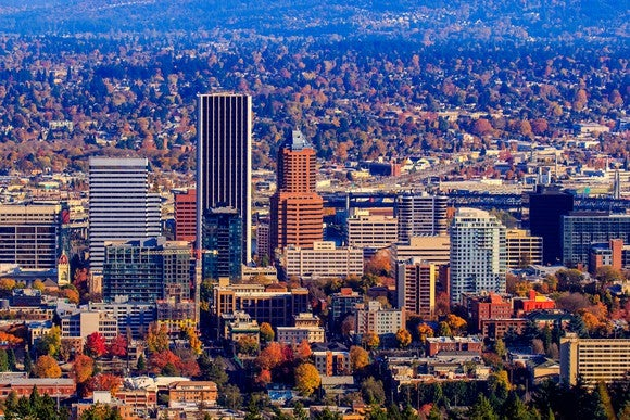 Downtown Portland, Oregon, with the Wells Fargo building towering over it.