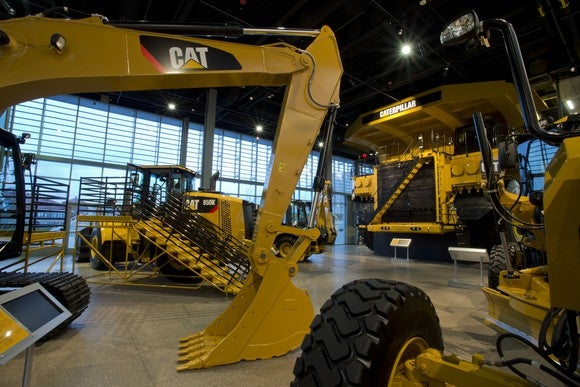 A Caterpillar product floor display showing machinery.