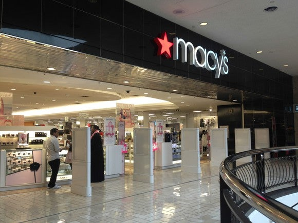 The entrance of a Macy's inside a mall