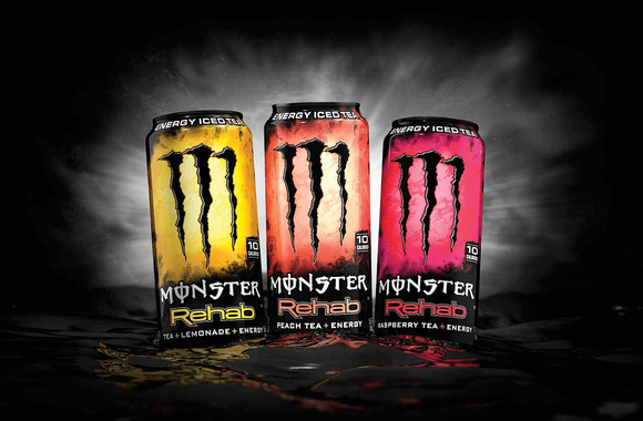 Three cans of Monster Rehab.