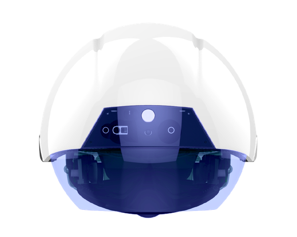 The new DAQRI smart helmet, which looks like a white hard hat with a blue visor.