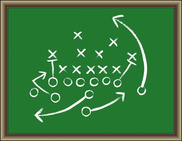 Football play diagrammed on a green chalkboard