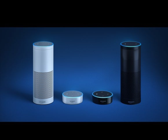 Echo and Echo Dots in both black and white models.