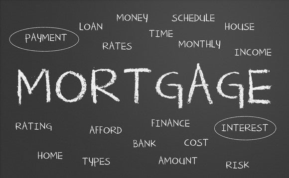 """The word """"mortgage"""" written on a blackboard surrounded by smaller related words such as interest and payment"""