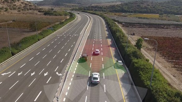 Visualization of autonomous vehicle sensing the environment