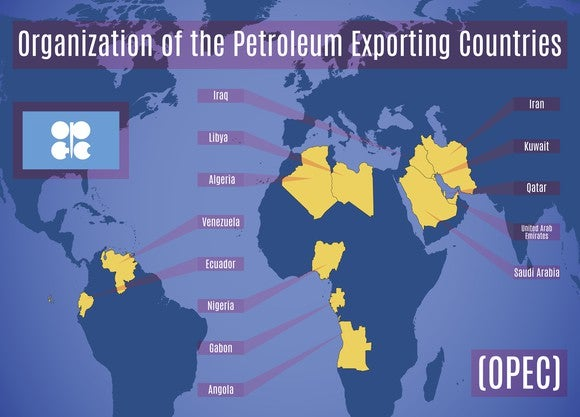 Map of OPEC countries.