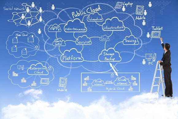 An illustration of a man working on cloud applications while standing on an actual cloud.