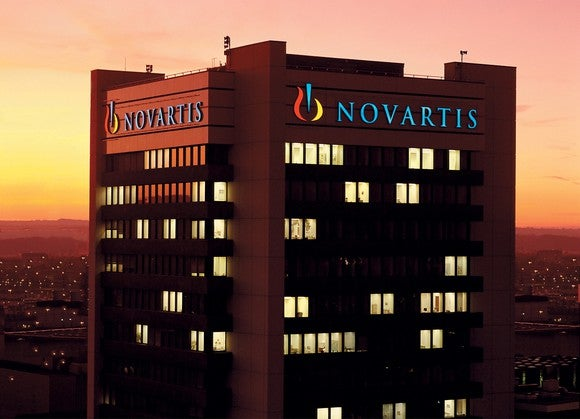 Novartis headquarters at sunset.