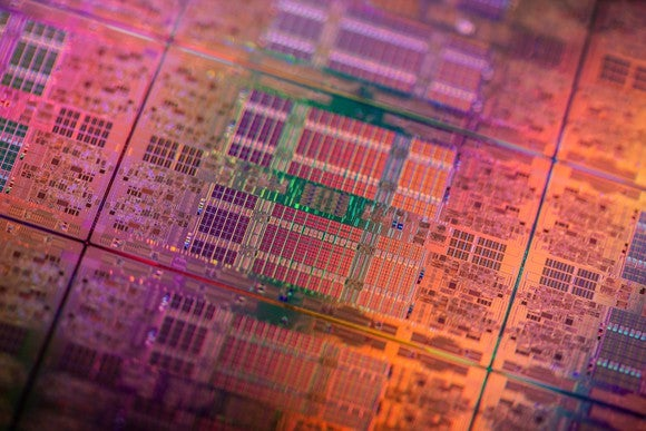 This image shows a silicon wafer filled with Intel server processors.