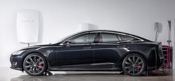 Tesla's Model S with the first Powerwall.