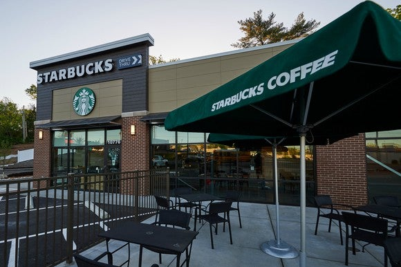 The outside of a Starbucks