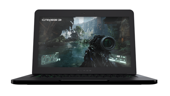 """A screen shot of the first-person shooter game """"Crysis 3"""" on a laptop"""
