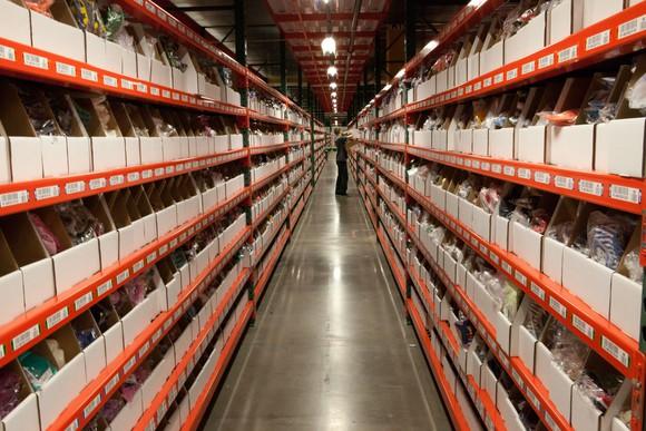 Inside a Wal-Mart warehouse.