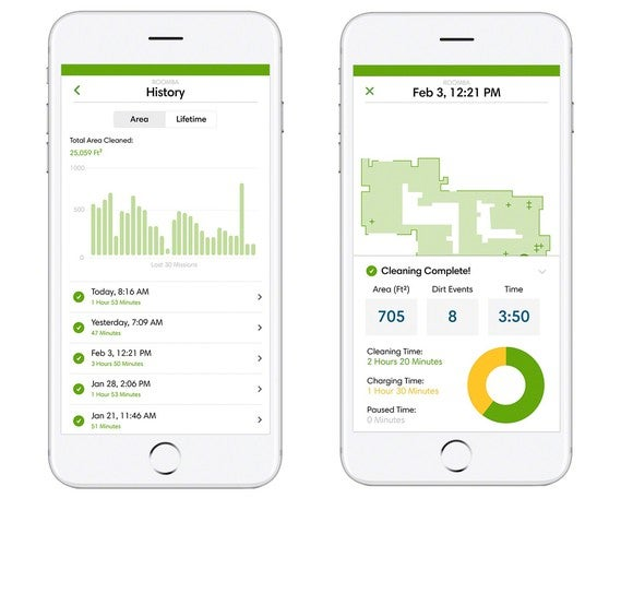Screenshots of iRobot's new HOME app.