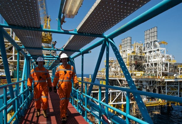 Workers on an oil platform.