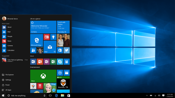 A shot of the Windows 10 Start Menu.