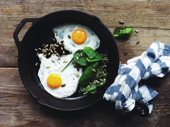Eggs in a skillet.