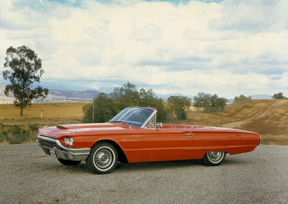 A red 1964 Thunderbird.
