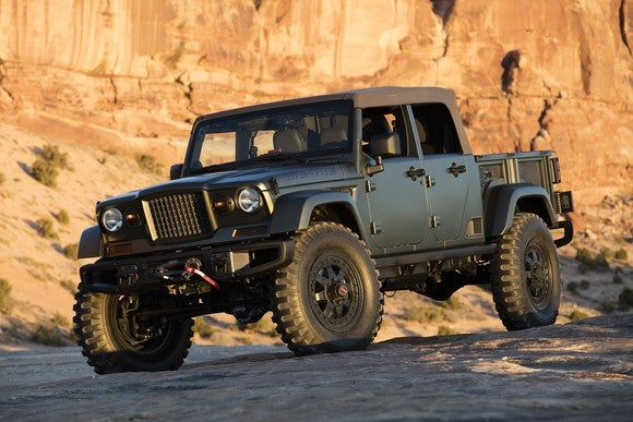 The 2016 Jeep Crew Chief 715 Concept, a very brawny Jeep-styled pickup.