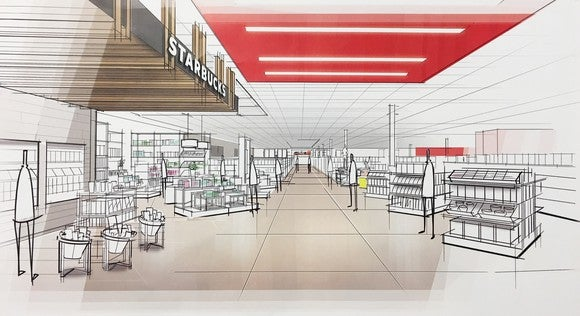 Artist renderings of the new Target store design.