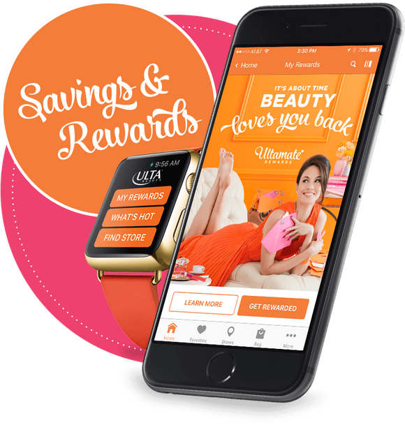 "The Ulta loyalty program mobile app with a sticker that says ""Savings and rewards"""