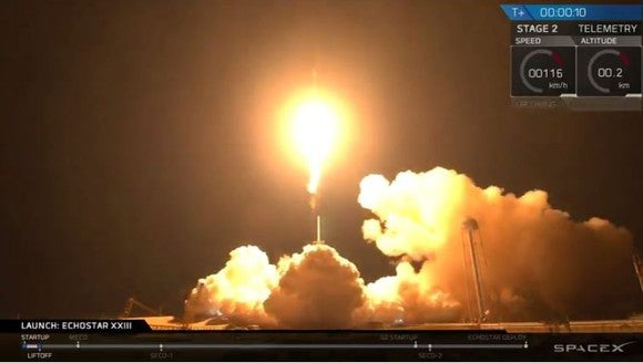EchoStar XXIII rocket lifts off.