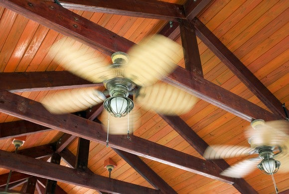 Ceiling fans spinning.