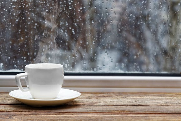 Coffee cup and raindrops.