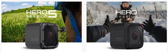 GoPro's Hero 5 Session and its older Hero Session.