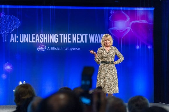 Diane Bryant, executive vice president and general manager of the Data Center Group for Intel Corporation onstage at Intel AI Day.