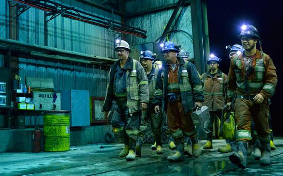 Hecla Mining employees walking.