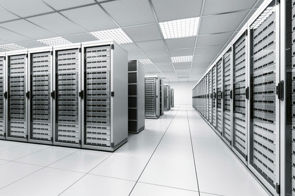 A data center with racks of servers