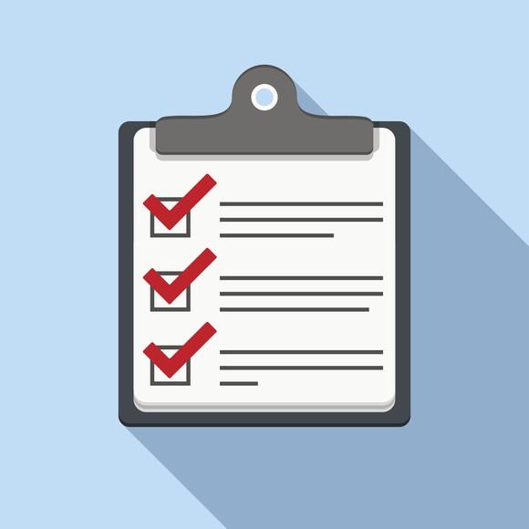 Checklist on clipboard