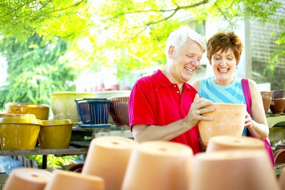 Retired couple shopping for antiques