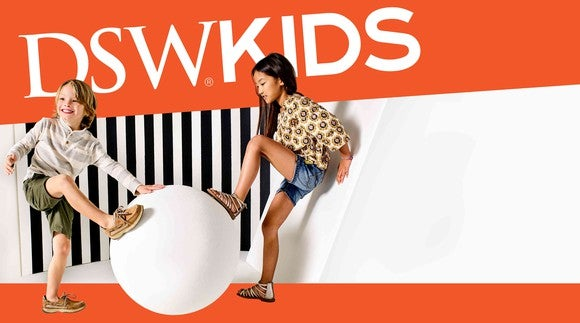 An DSW promo featuring two children.