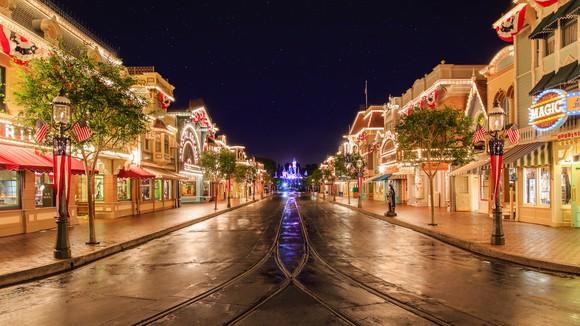 Disneyland's Main Street USA at night.