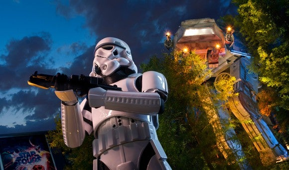 A stormtrooper guarding the Star Tours ride.